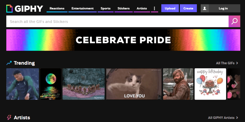 Homepage of GIPHY